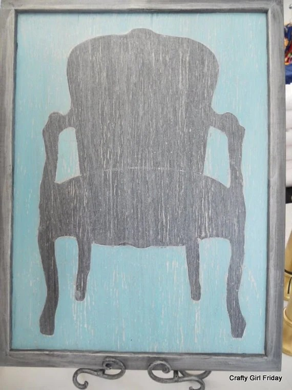 Hand Painted Distressed Chair Silhouette