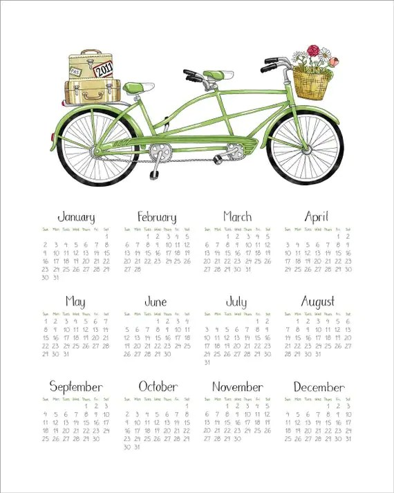 2011 CALENDAR - Green Tandem Bicycle -  Fine Art Print - 8x10