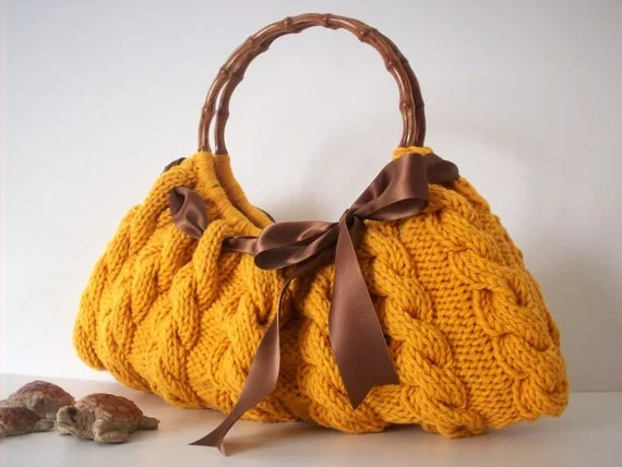 Knitted Yellow Shoulder Bag
