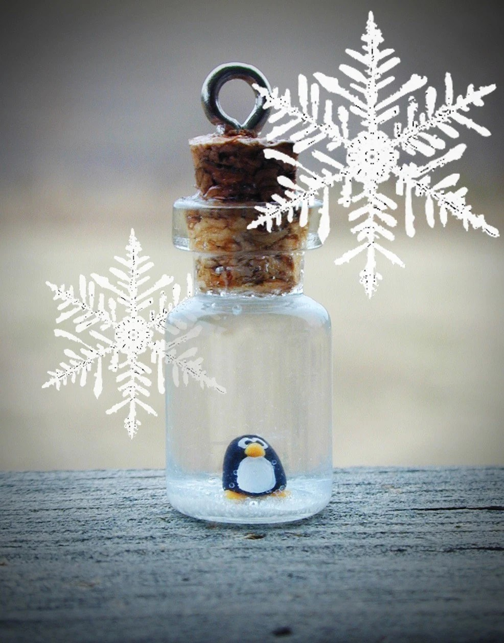 Christmas SALE Tiny Penguin in Glass Bottle