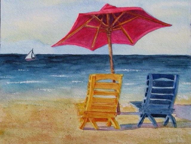 Beach Chairs and Umbrella Art: Limited Ed Watercolor Print 16x20