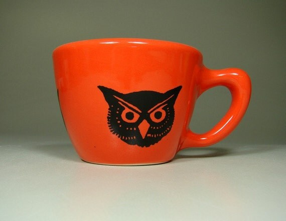 12oz cup owl (clementine) - Made to Order / Pick Your Colour