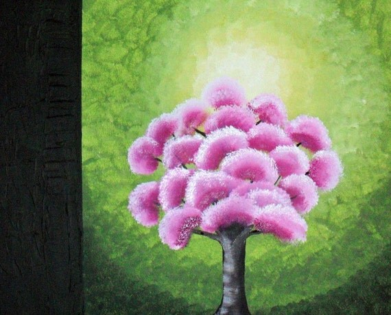 Pink Blossom Tree Original Acrylic Abstract Landscape Painting