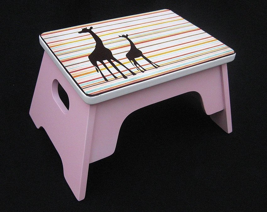 Giraffe Children's Step Stool by Custom Climbers (Pink, Brown, Striped)