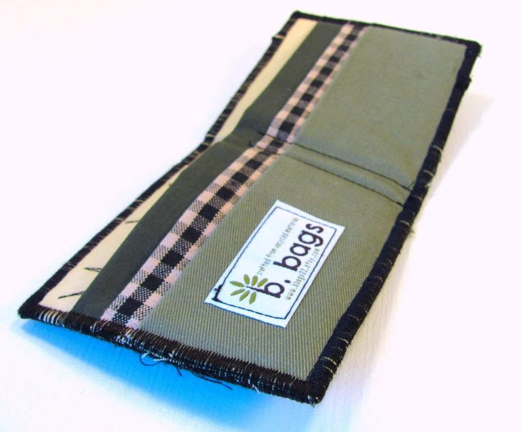 Upcycled Billfold Wallet in Olive