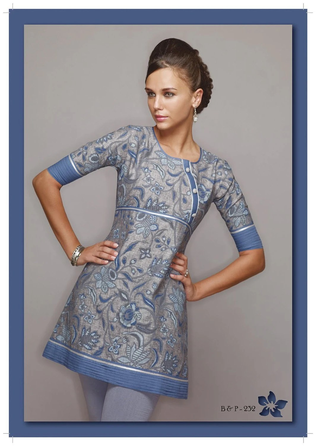 Ladies Printed Designer Moderate Gray tunic/ top/Kurtis