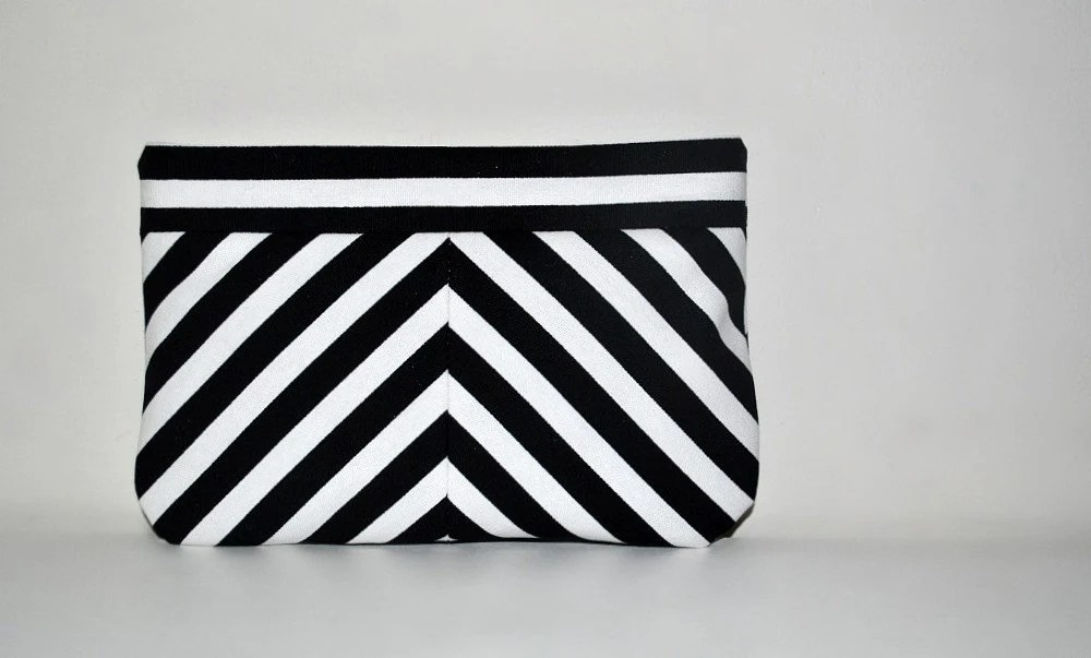 Black and White Chevron Clutch