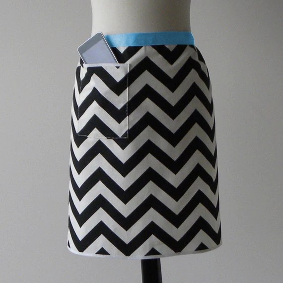 MODERN HOSTESS APRON with iPod/iPhone/smartphone pocket- Black and White Chevron (Free Shipping)