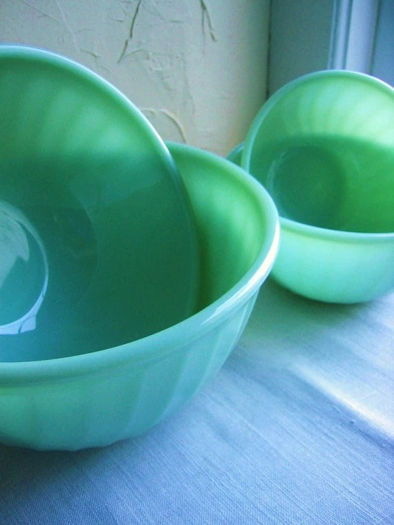 Fire King Jadite Swirl Mixing Bowl Set Complete and Fabulous Circa 1950