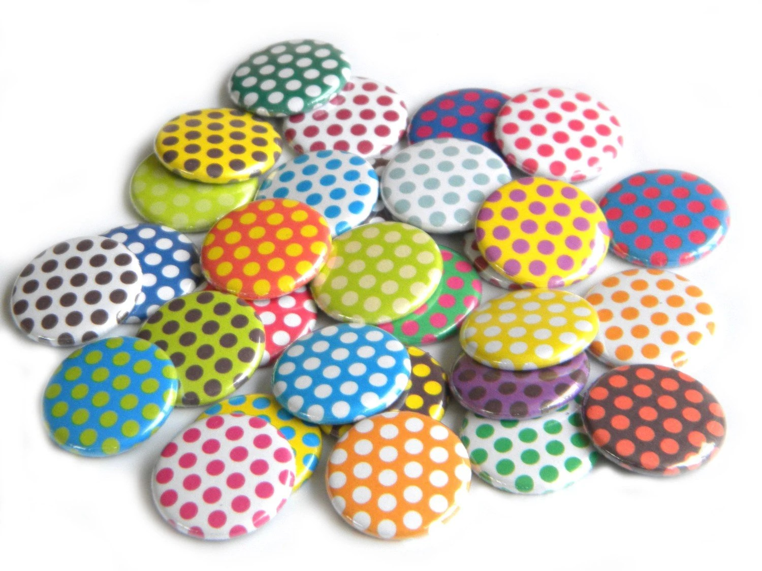 25 Assorted Polka Dot Flat Back Buttons