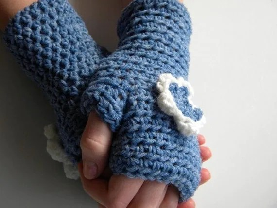 Winter Blues - Blue Finger Free Gloves with Blue and White Flower