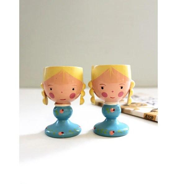 Vintage Wooden Egg Cup Girl Set