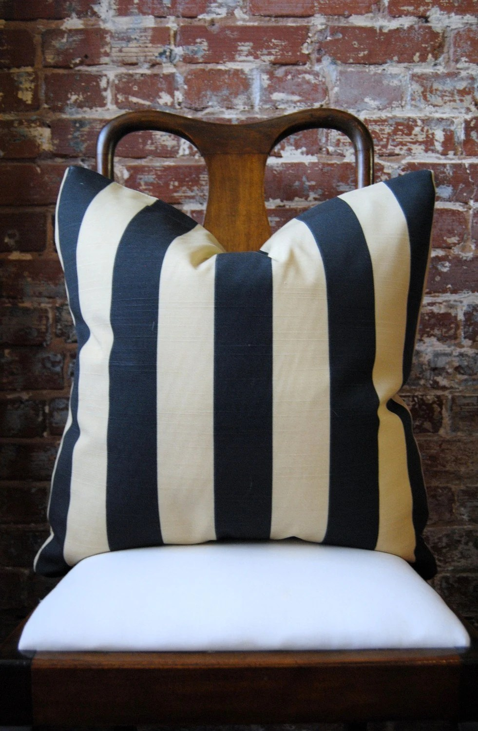 Gatsby Black Stripe Outdoor Pillow