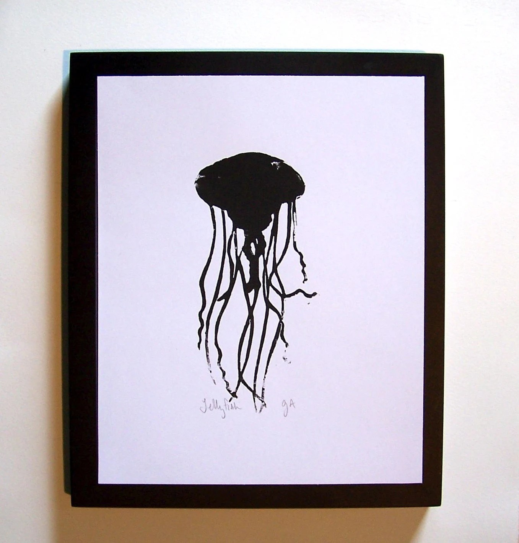 PRINT - Jellyfish BLACK LINOCUT silhouette marine animal