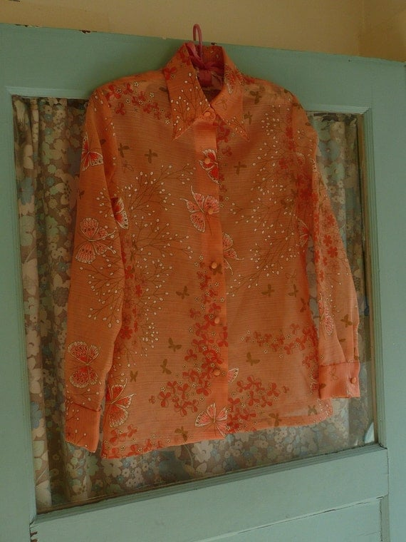 Vintage 60s MISS SHAHEEN Sheer Orange Butterfly Floral Button Up Shirt sz 6 / M