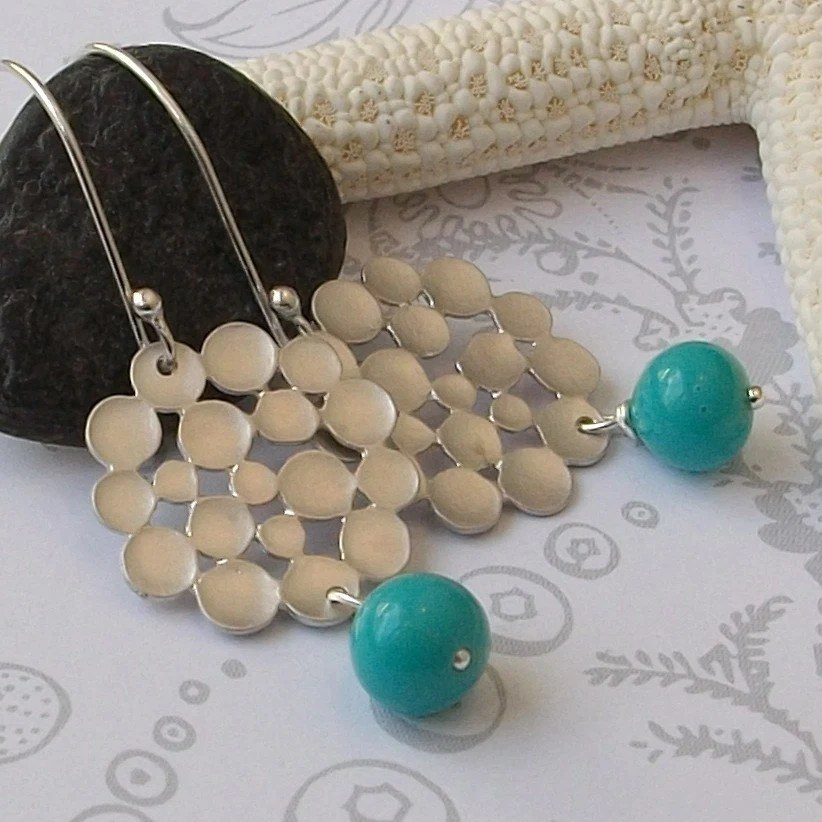 Bubble and Vintage Blue Earrings on Sterling Silver Earwires