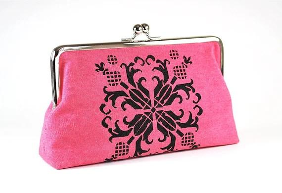 Honeysuckle Pink hemp clutch purse with black floral motif