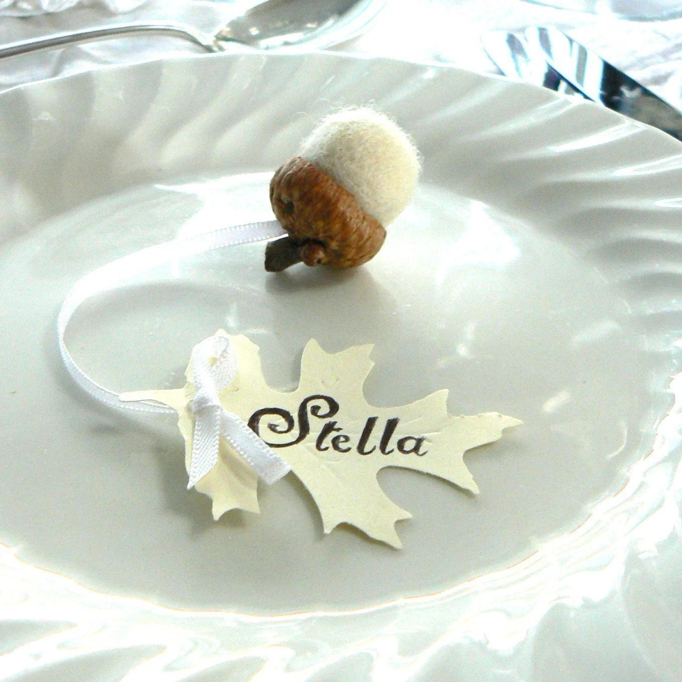 Fairytale Wedding Acorn and Oak Leaf Place Card Favors- Set of 10 Wooly Felted Acorns.