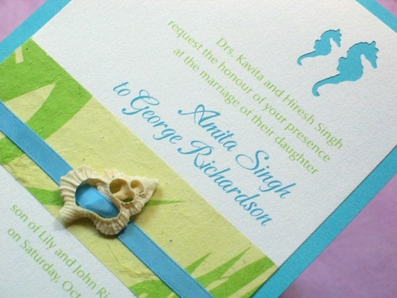 Beach Wedding Invitation - Seashell with Die cut Seahorse Sample