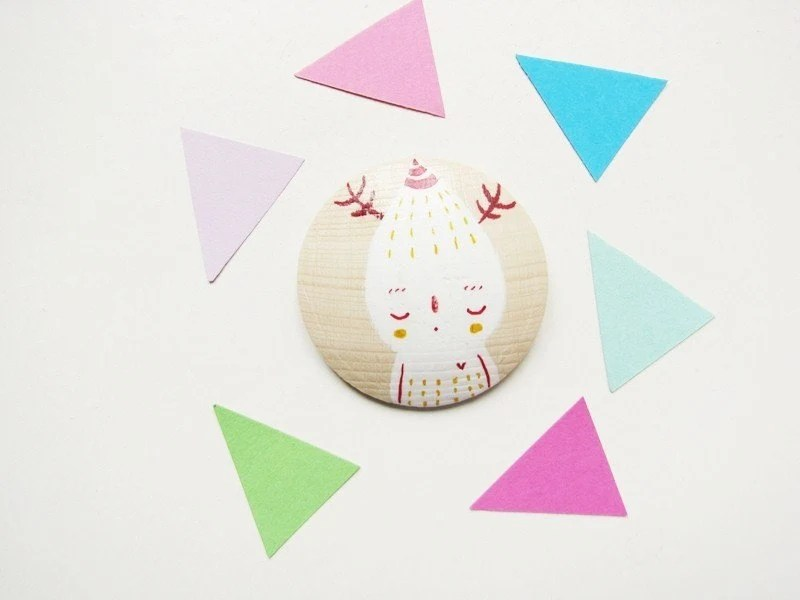 Little whimsical creature Hand painted wooden brooch