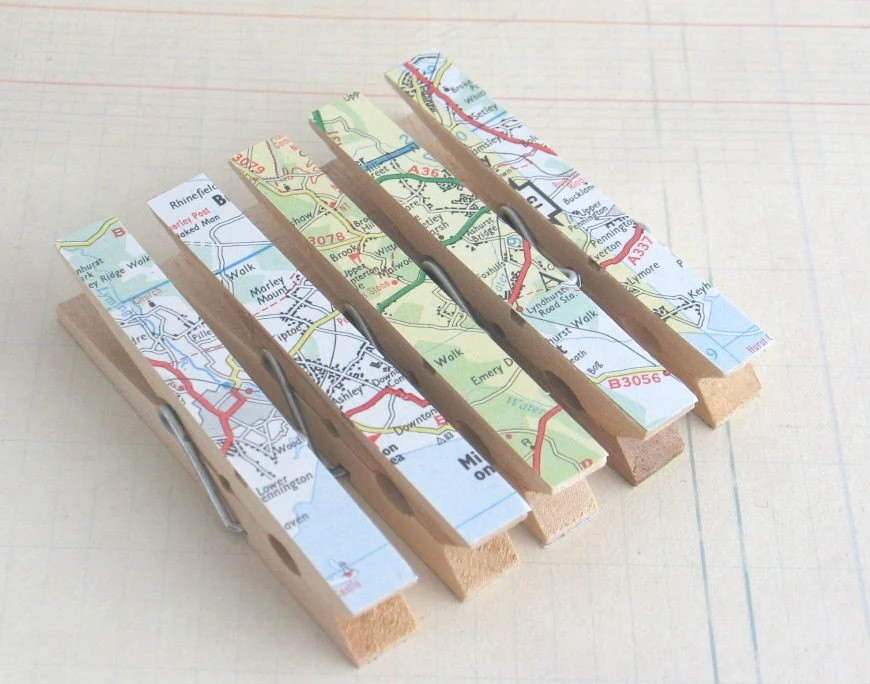 Map Clothespins by JellyBeanStudio http://www.etsy.com/people/jellybeanstudio?ref=ls_profile