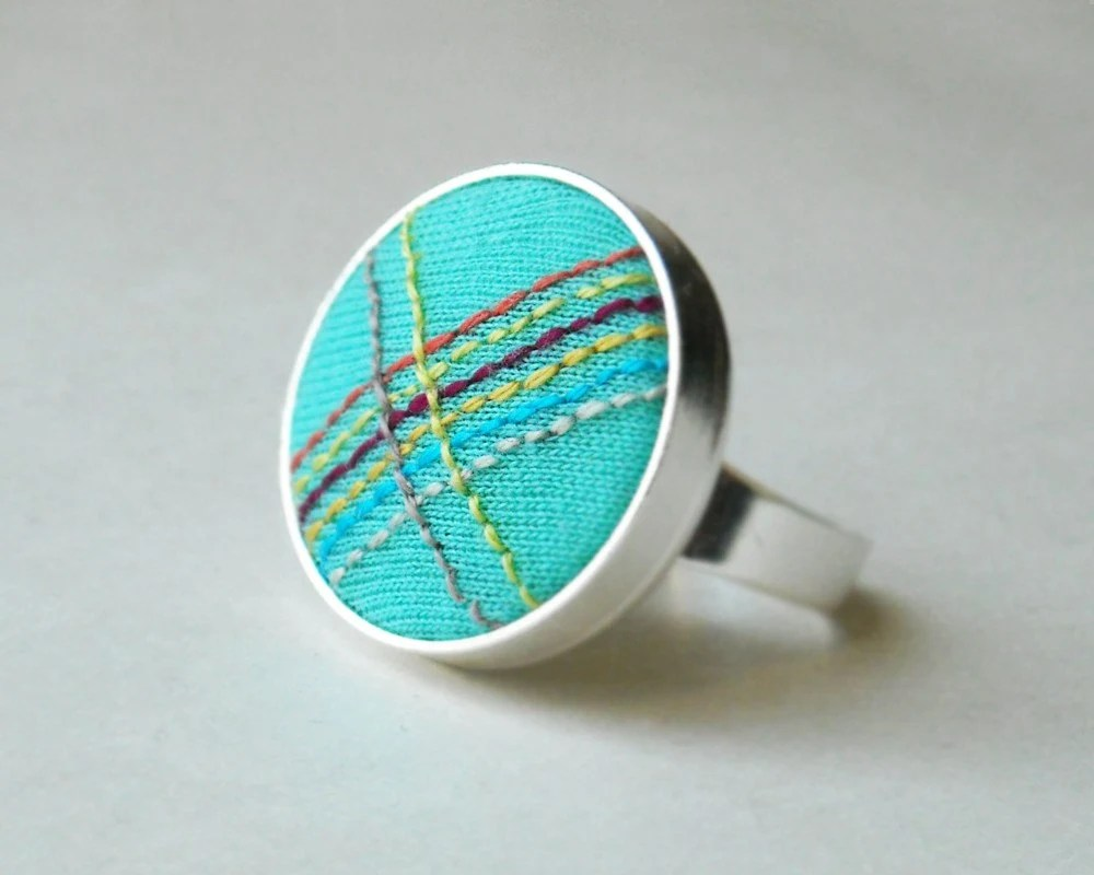 Rainbow Embroidery Ring - Stripes, Hand-Stitched Multicolor and Turquoise Fabric