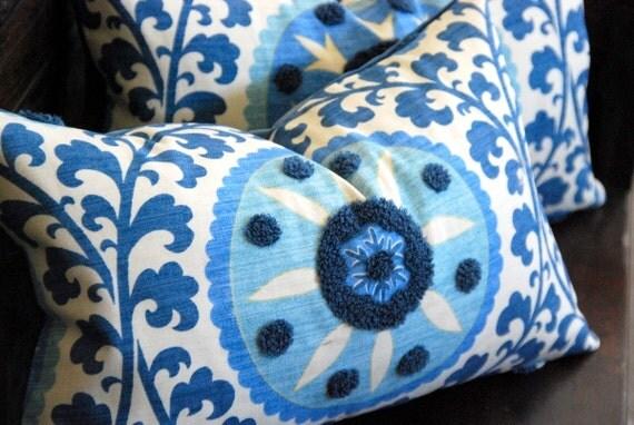 "12""x20"" Mediterranean Blue Suzani Boudoir, Lumbar, or Accent Pillow. Includes Plush Feather/Down Insert."
