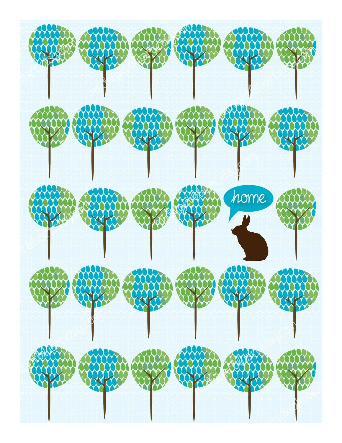 Home Among Trees - Rabbit, Deer or Bird - Digital Download - 7.5 x 10 inches Image