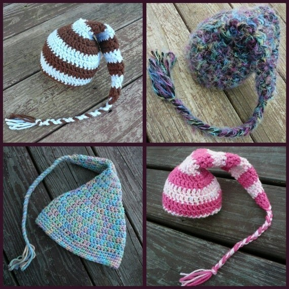 PATTERN - Easy ELF Hat - festive stocking cap hat for ALL ages