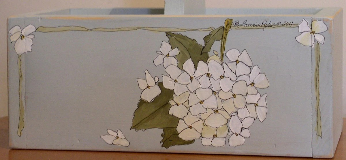 Hand Painted Hydrangea Planter Tote