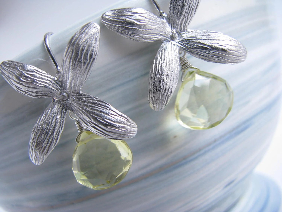Lemon Quartz  Blossom Earrings