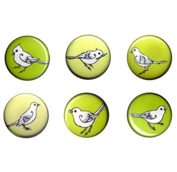 Birds Pin Set in Citron Green