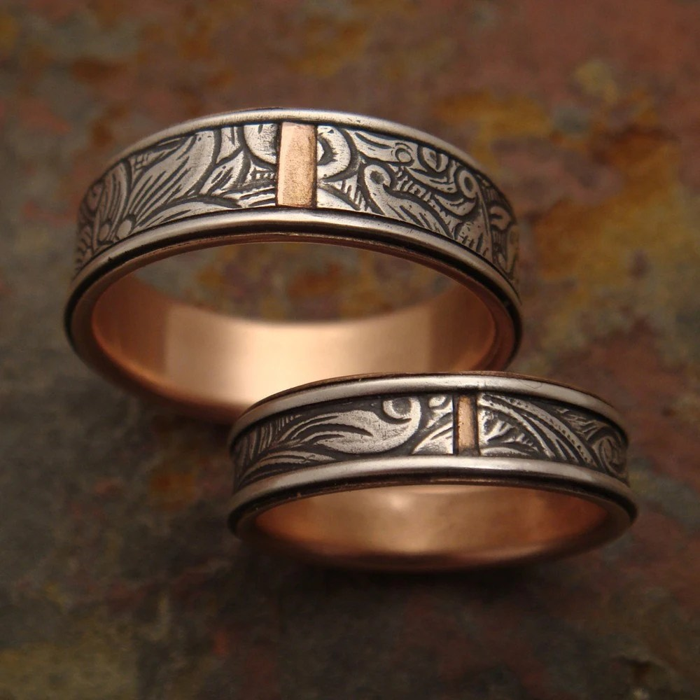 Sunflower Wedding Bands in Sterling Silver & 14k Rose Gold