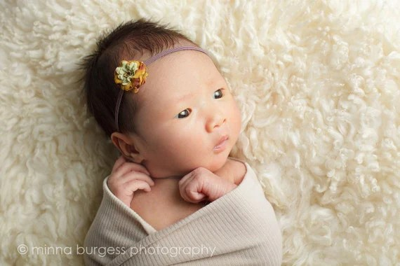 Newborn to Adults Tiny Autumn Flower on Petite Elastic Headband - Custom Size Photography Props Weddings Flower Girls Baby Shower Gifts