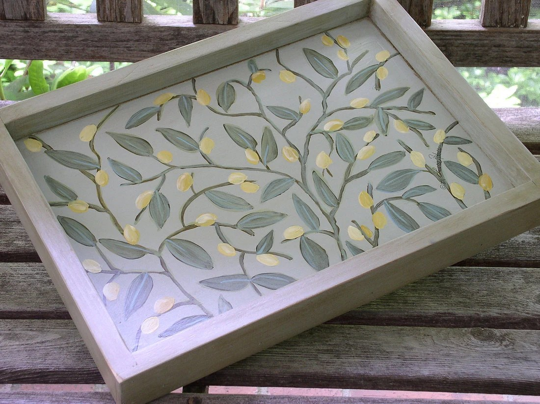 Cottage Hand Painted Wood Serving Tray