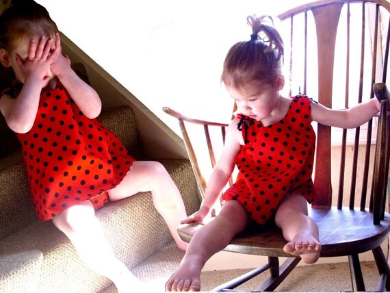 Ladybug Polka Dot and Gingham Toddler Playsuit - Fully Lined / Reversable (Wrap Top and Nappy / Diaper Liner)