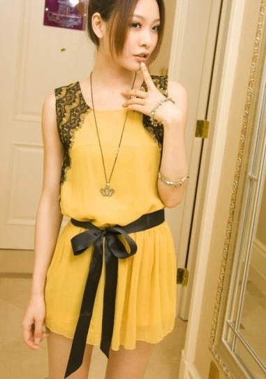 Lace Shoulder Sleeveless Dress YELLOW