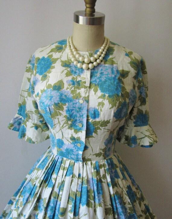 1950's Floral Cotton Garden Party Mad Men Summer Dress S