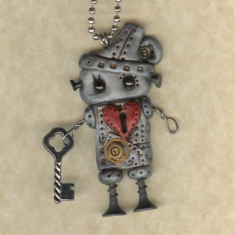 Steampunk  Tinman Robot Necklace
