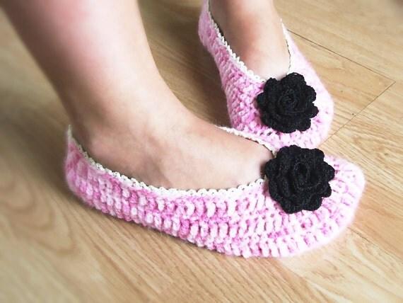 Pink Crochet Slippers on Etsy