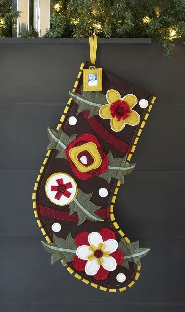 Holiday Stocking by Ahna Holder, Brown floral style