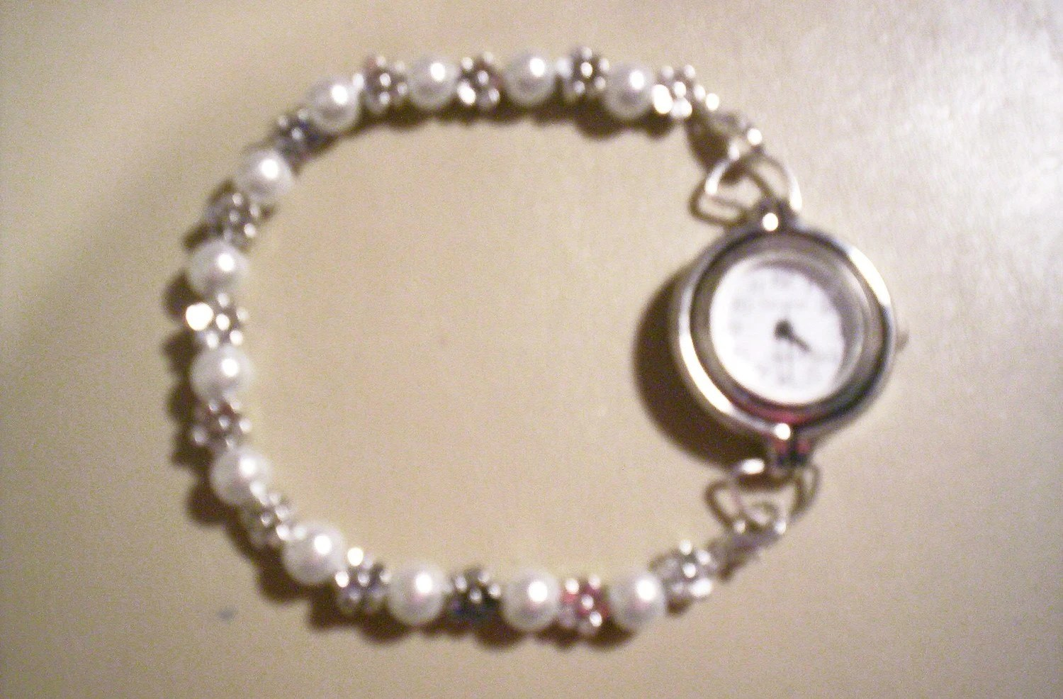 White 6mm Faux Pearl Beaded Swap Bracelet Watch Band or Medical Alert Tag Band