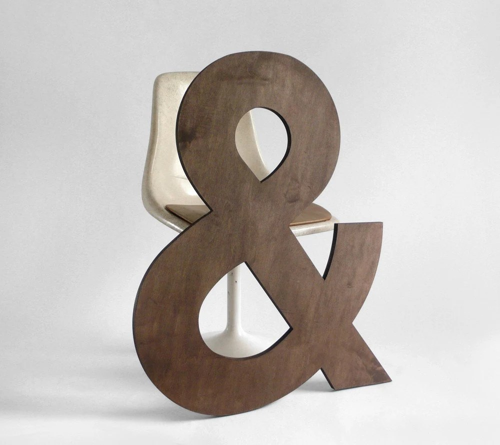 Ampersand Letter - Wood, Wall Hanging, Baby Name, Nursery, Wedding, Personalized