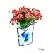 Bucket O' Roses Abstract Art Print Matted Acid Free 11x14