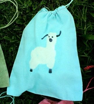 FREE SHIPPING turquoise blue batik ALPACA mini 8x10 drawstring bag NO TEXT