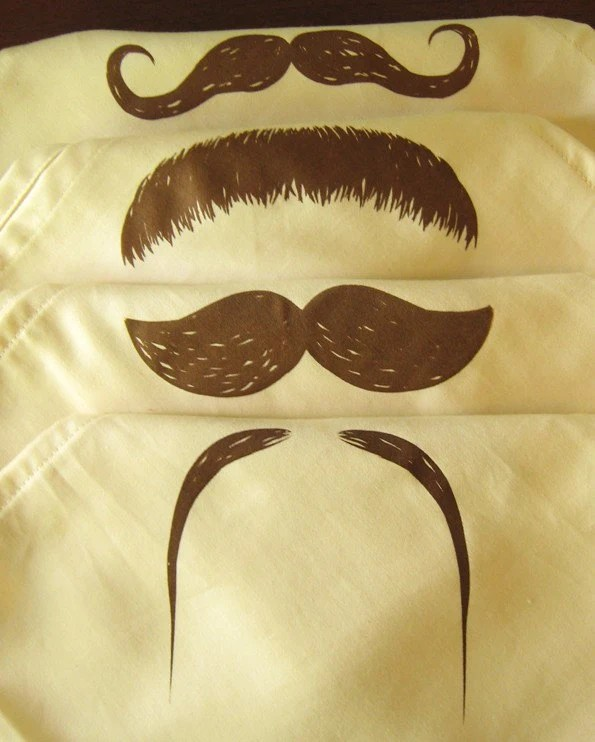 Mustaches on Natural Organic Cotton Dinner Napkins - Set of 4