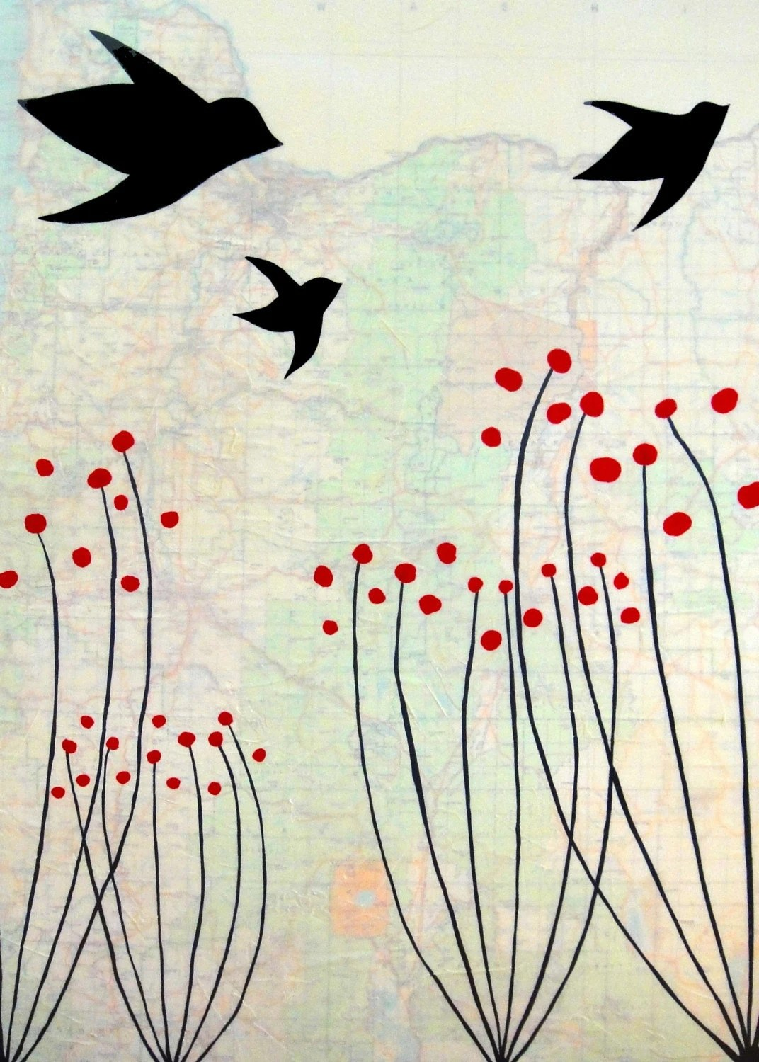 Flying Birds and Red Twig Dogwoods