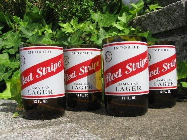 Set of 4 Recycled Redstripe Beer Bottle Tumblers