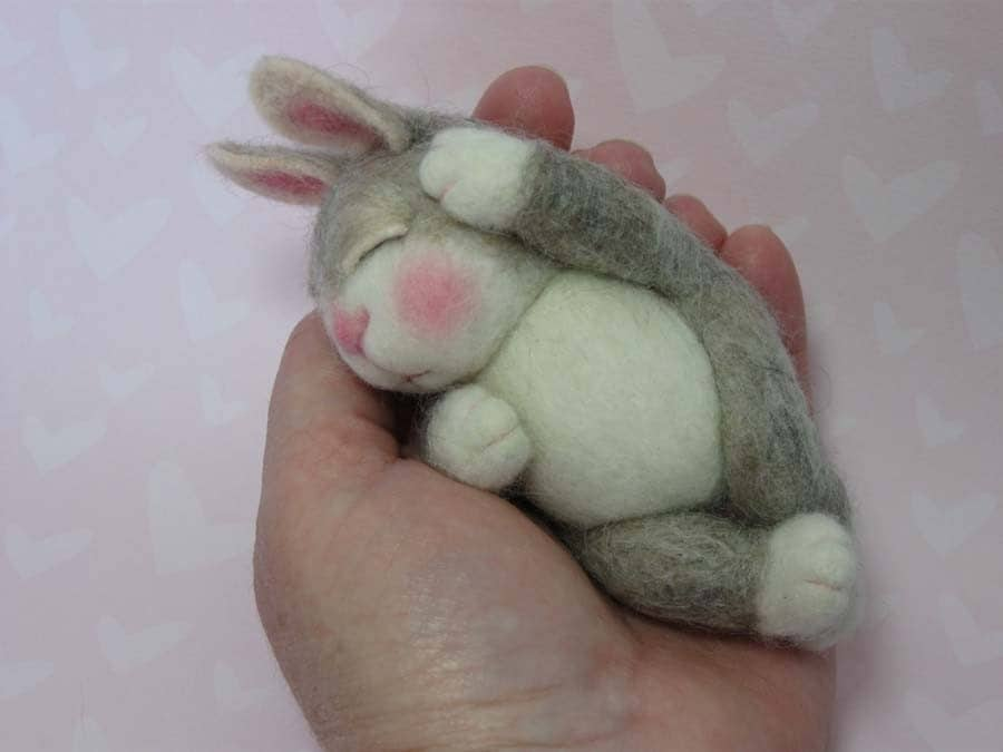 needle felting, bunny, rabbit, pdf, barby303, morning glory workshop