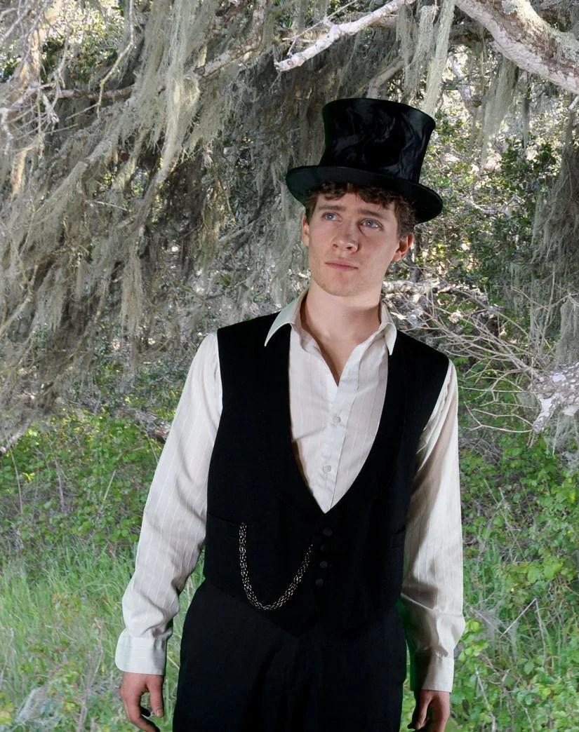 men's black antique vest